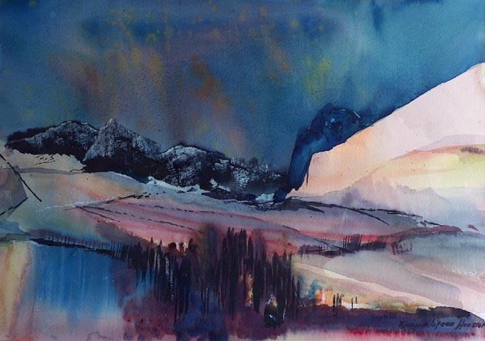 684x481 Thelma Speed Houston Aurora Borealis California Style Watercolor