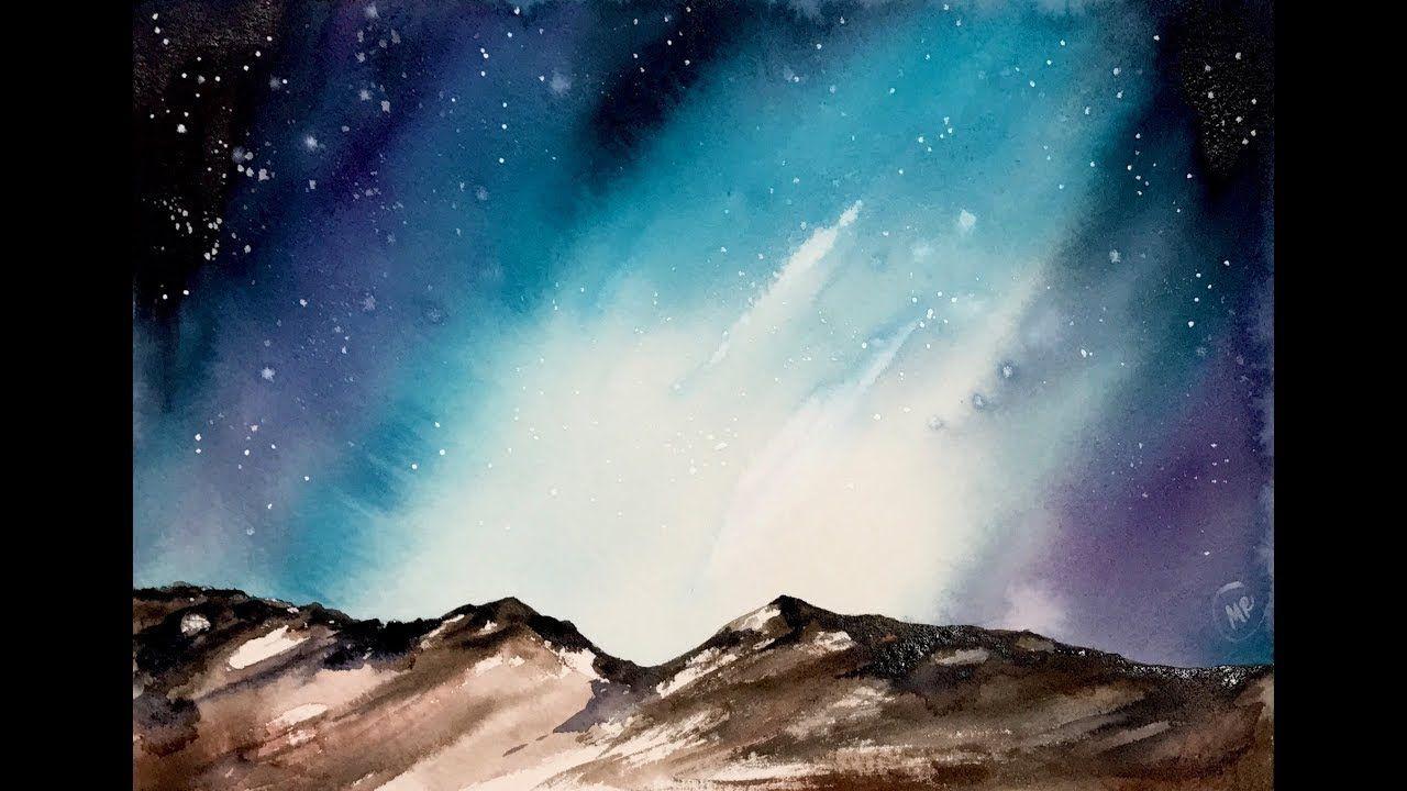 1280x720 Watercolor Aurora Painting Demonstration Watercolor