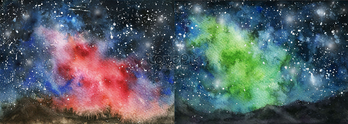 1200x429 Watercolor Aurora Starry Wallpaper Photo Images Scenery Pictures