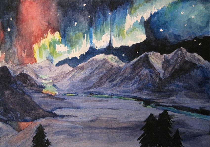 850x595 Watercolor Denali Alaskan Aurora By Mysticalpchan