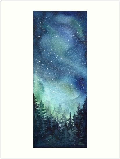 413x549 Watercolor Galaxy Nebula Aurora Northern Lights Painting Art