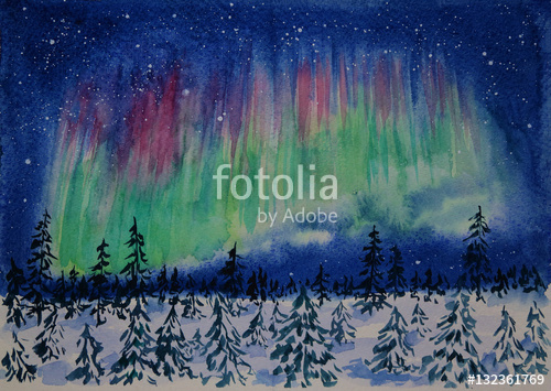 500x355 Winter Aurora Borealis Watercolor Painting Stock Photo And