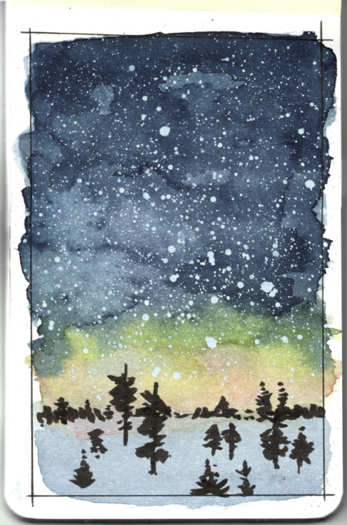 495x750 Aurora Borealis Watercolor Tumblr