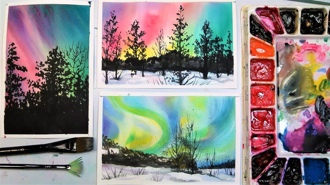 1280x720 Aurora Borealis (Northern Lights) 3 Ways In Watercolor!