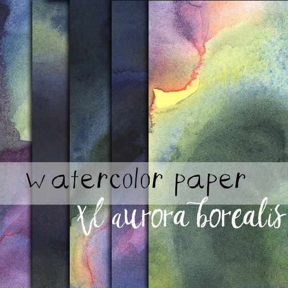 570x570 Aurora Borealis Digital Watercolor Paper Northern Lights Etsy