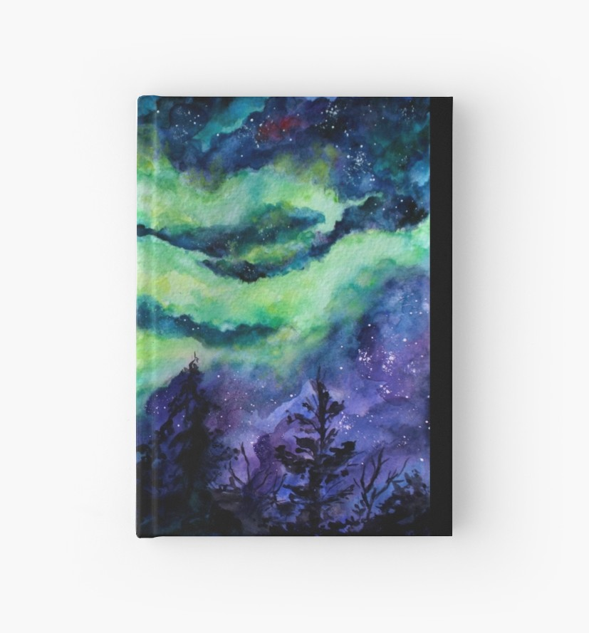 827x889 Aurora Borealis Watercolour Painting Hardcover Journals By