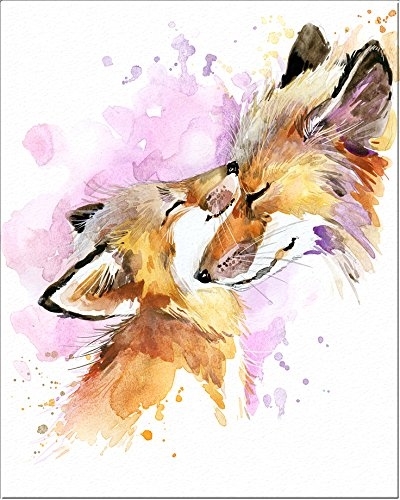 400x500 7dots Art. Mom And Baby Animals. Watercolor Art Print, Poster 8