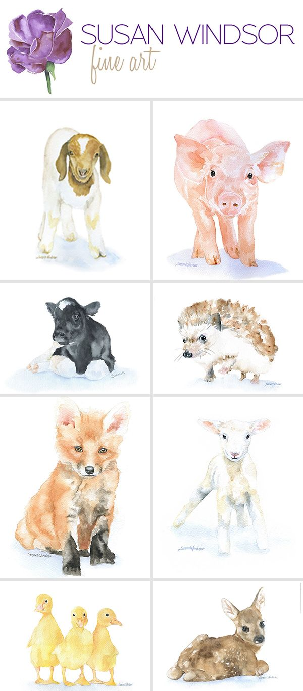 600x1369 Baby Animal Water Color Prints. Perfect For A Nursery. Lifestyle