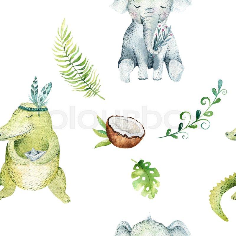 800x800 Baby Animals Nursery Isolated Seamless Pattern. Watercolor Boho