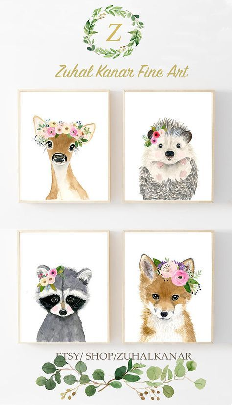 474x826 Baby Animals Print Set, Set Of 4 Prints, Baby Girl Nursery