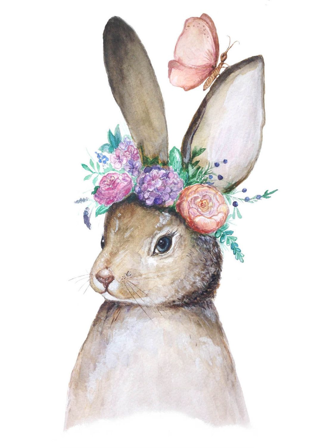 1061x1500 Bunny With Flowers Original Watercolor Painting Woodland