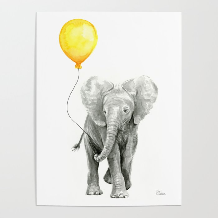 700x700 Elephant Watercolor Yellow Balloon Whimsical Baby Animals Poster