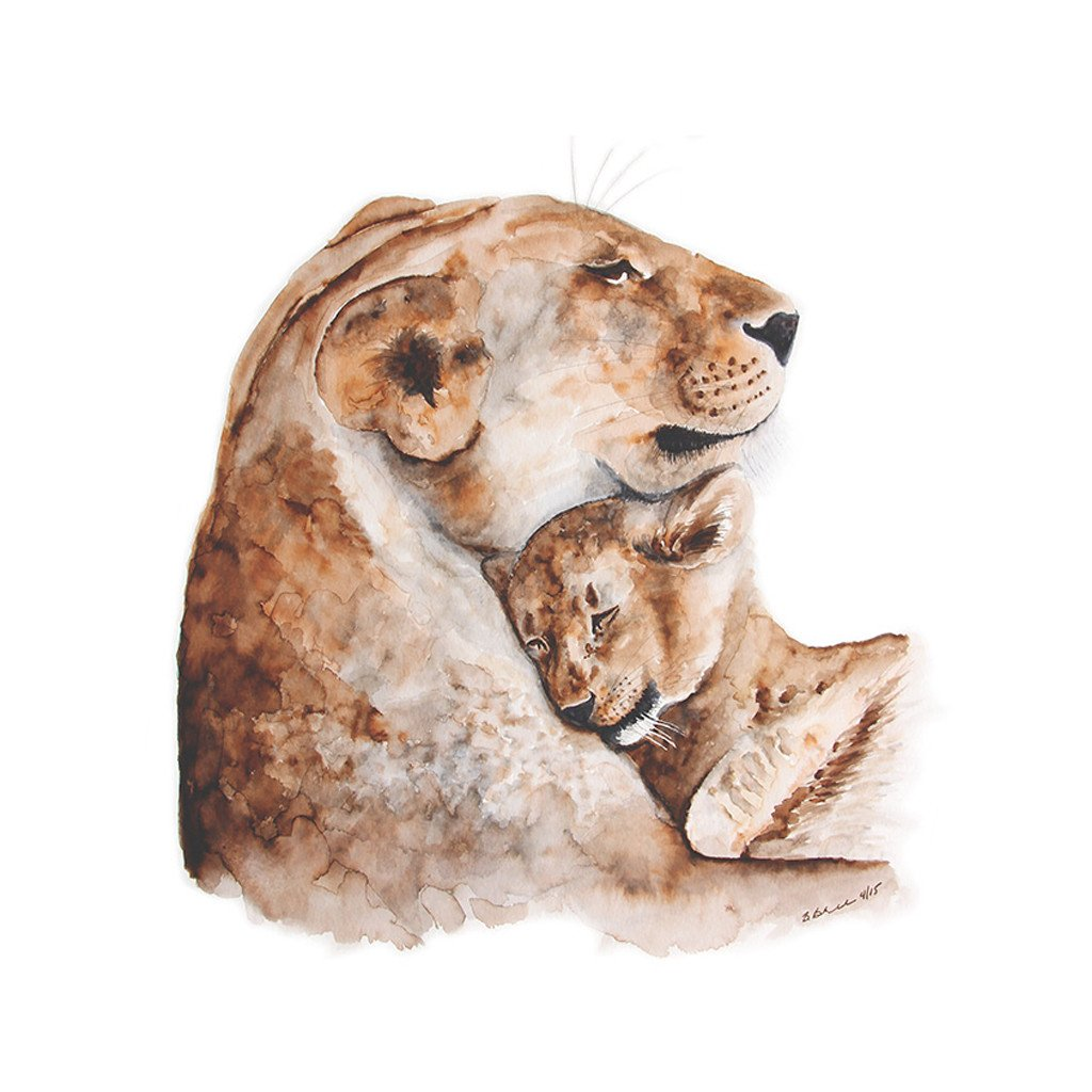 1024x1024 Mom And Baby Lion Watercolor Print Nursery Art Tiny Toes Design