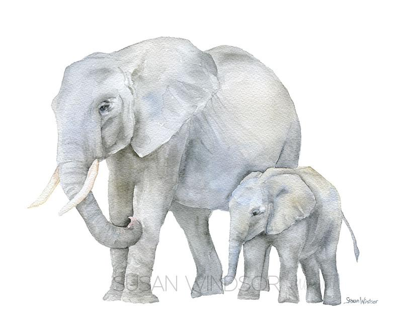 813x650 Mother And Baby Animals Watercolor Art Print Set Of 4