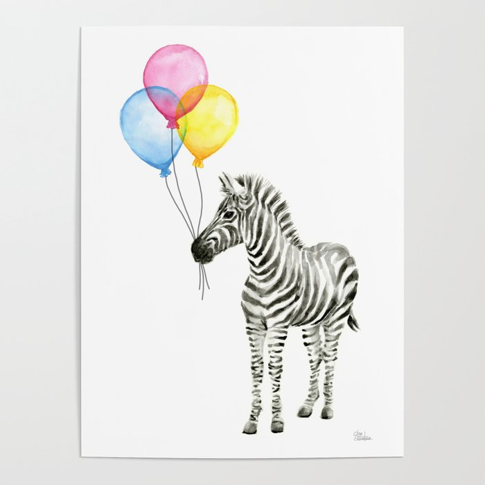 700x700 Zebra With Balloons Watercolor Baby Animals Poster By Olechka