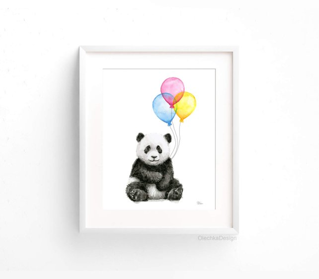 642x562 Baby Panda Balloons Watercolor Animals With Balloons Panda Art Etsy