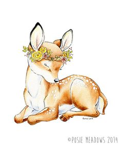 Watercolor Baby Deer