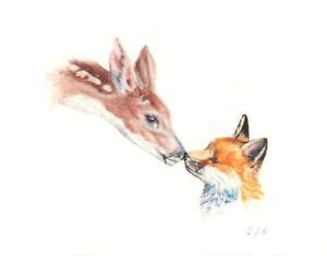 300x235 Original Watercolor Baby Fox And Baby Deer Ebay