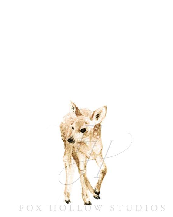 570x713 Baby Deer Bodysuit Animal Bodysuit Deer Watercolor Etsy
