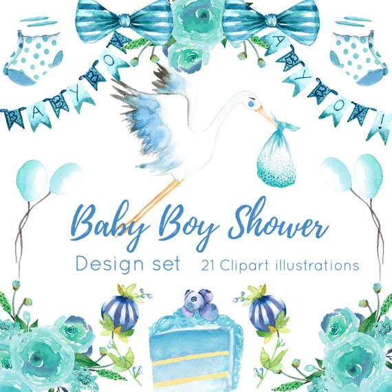 570x570 Baby Shower Clipart Watercolor Baby Shower Baby Shower Boy Etsy