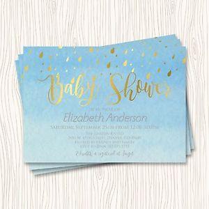 300x300 Faux Gold Silver Blue Seafoam Watercolor Baby Shower Invitation