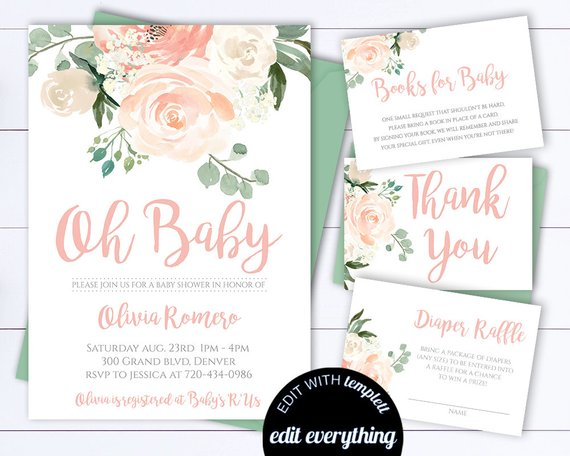570x456 Floral Baby Shower Invitation Template Floral Watercolor Baby Etsy