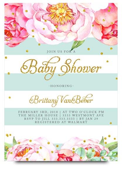 416x584 Floral Baby Shower Invitation, Flower Baby Shower Invite
