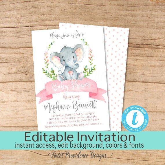 570x570 Girl Elephant Baby Shower Invitation, Safari Elephant Invitation
