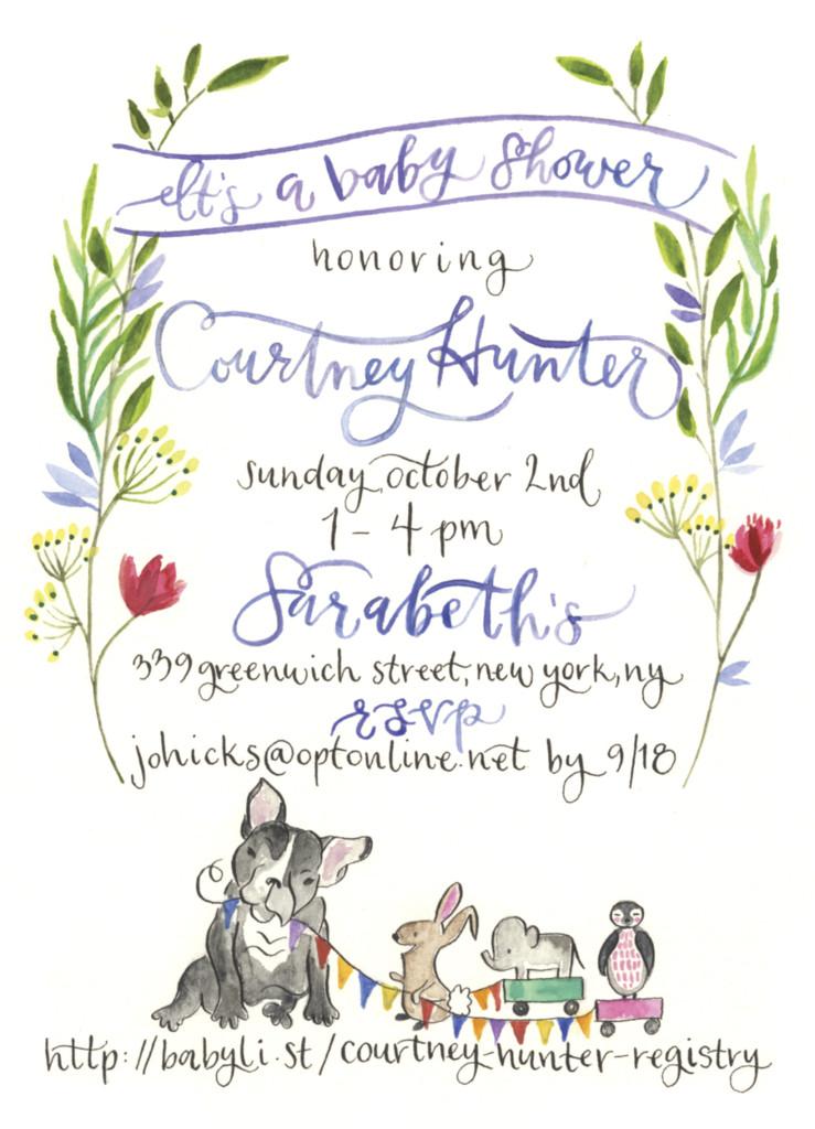 739x1024 Jill Vandall Baby Shower Invitation Watercolor