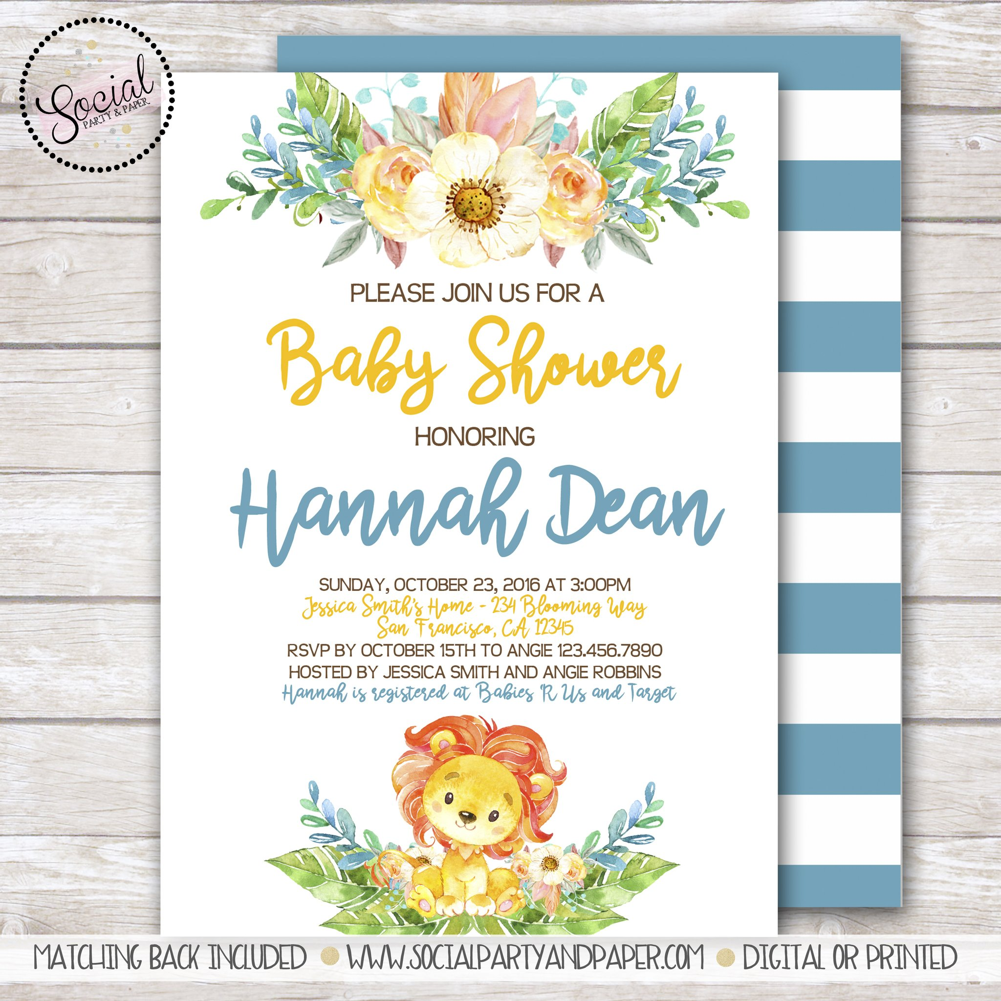 2048x2048 Lion Watercolor Baby Shower Invitation Social Party Amp Paper