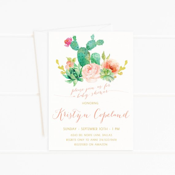 570x570 Baby Shower Invitation Girl Succulent Cactus Watercolor Etsy