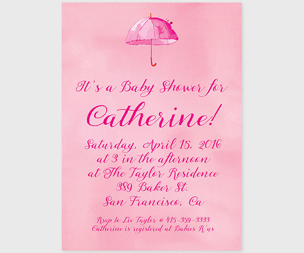 600x500 Pink Watercolor Umbrella Baby Shower Invitationsufeff