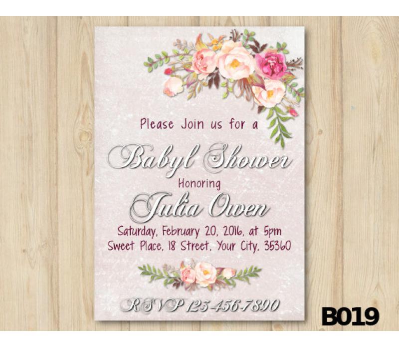 800x695 Printable Watercolor Baby Shower Invitation