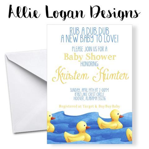 480x480 Rubber Ducky Watercolor Baby Shower Invitation Allie Logan Designs