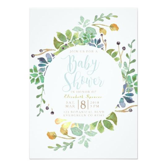 540x540 Succulent Garden Circle Watercolor Baby Shower Invitation