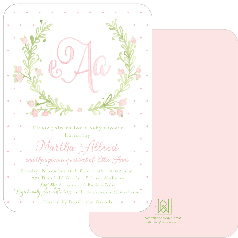 1000x1000 Sweet Watercolor Wreath Girl Baby Shower Invitation Suite