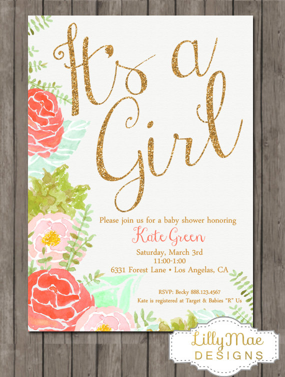 570x752 Watercolor Baby Girl Shower Invitation, Coral And Mint Baby Shower