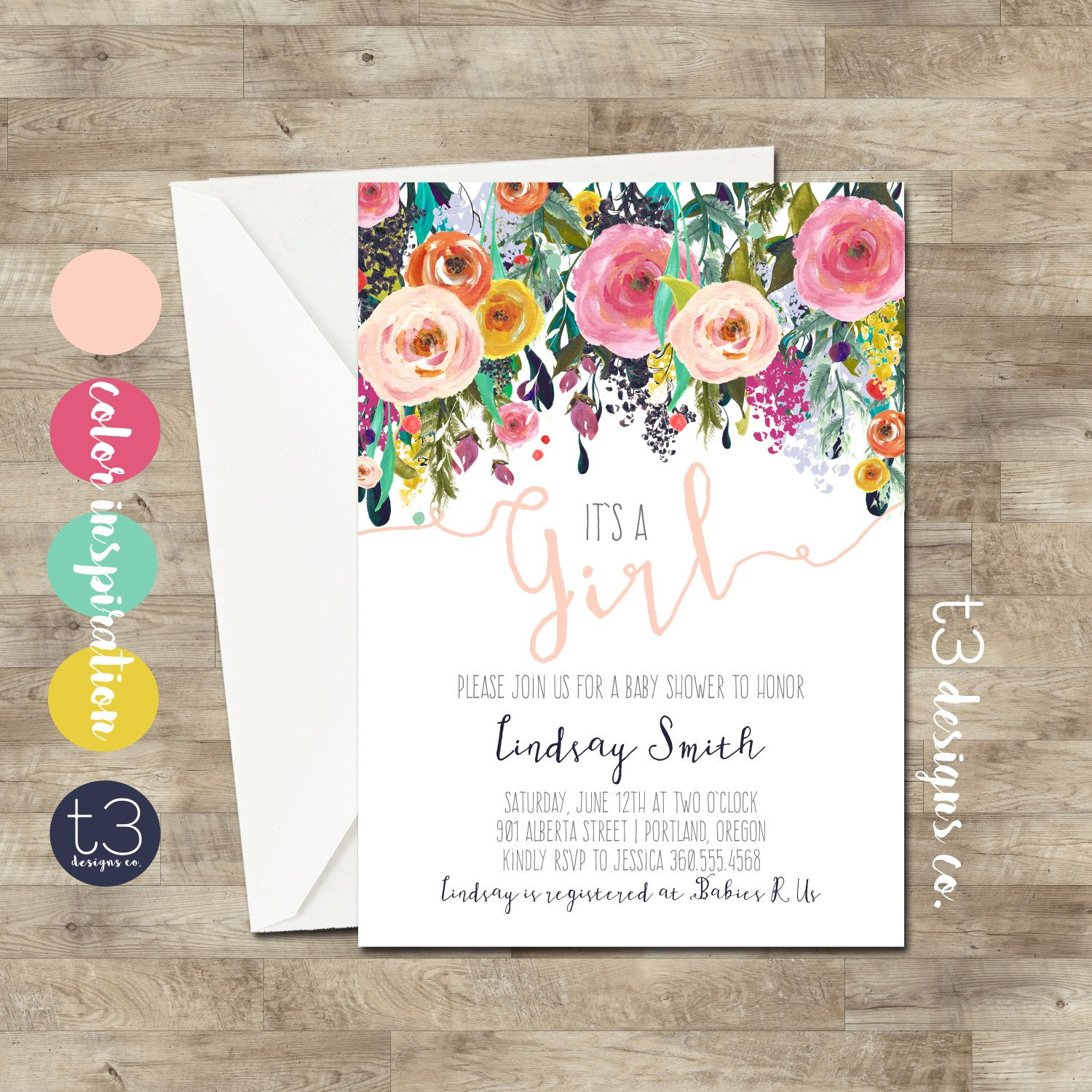 1500x1500 Watercolor Baby Shower Invitation, Floral Baby Shower, Baby Girl