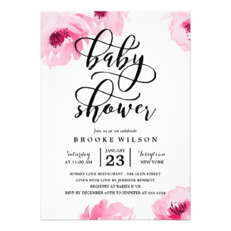 324x324 Baby Shower Invitation Limerick Beautiful Pink Watercolor Roses
