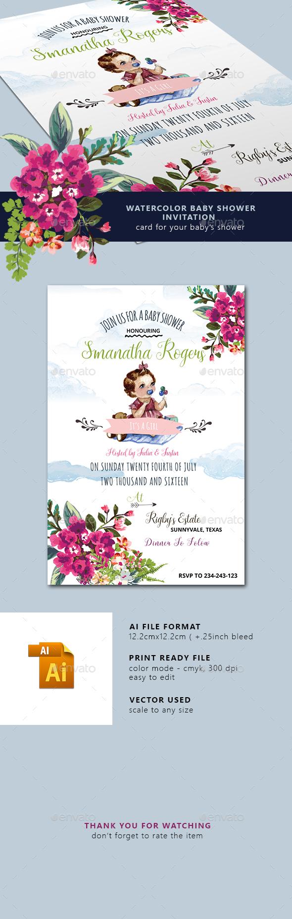 590x1856 Watercolor Baby Shower Invitation By Squirrel92 Graphicriver