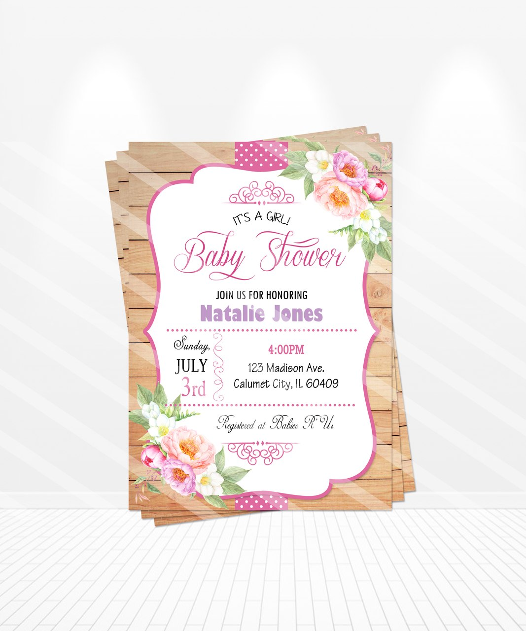 1067x1280 Watercolor Baby Shower Invitations
