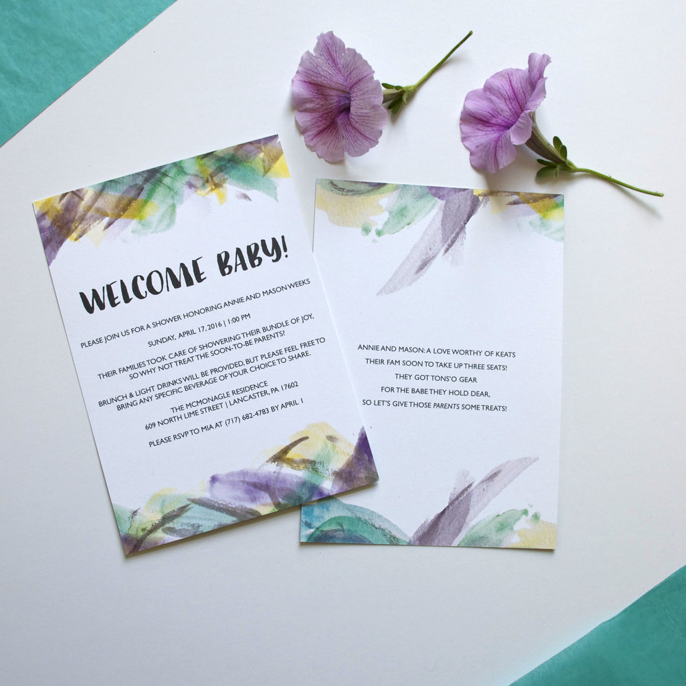 1000x1000 Watercolor Baby Shower Invitations Bon Graphic Design
