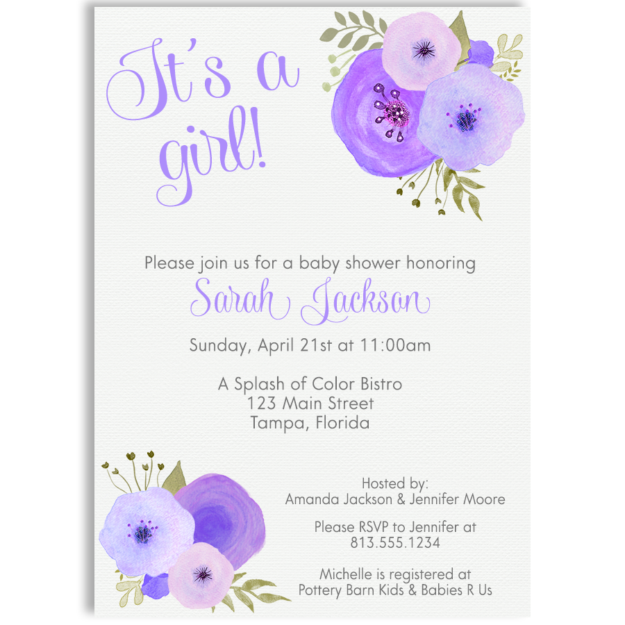 900x900 Watercolor Purple Baby Shower Invitation The Invite Lady