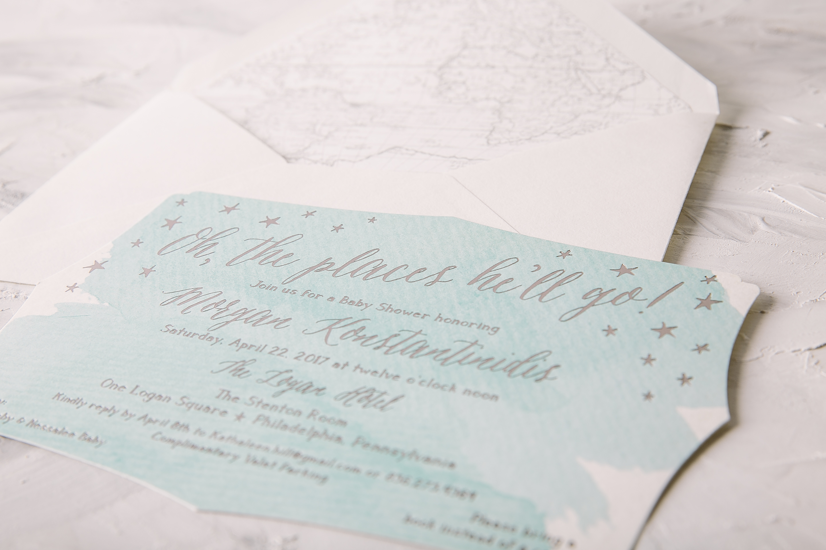 2880x1920 Watercolor Baby Shower Invitations With Platinum Foil Accents From