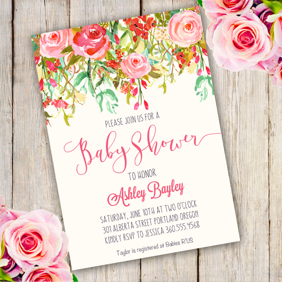 570x570 Whimsical Baby Shower Invitation Template