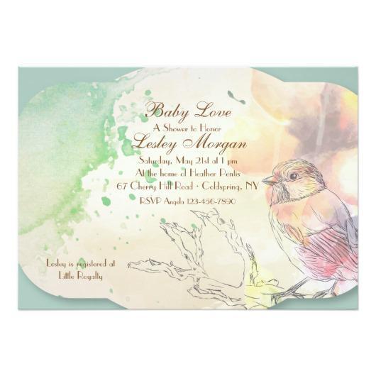 530x530 Watercolor Baby Bird Invitation Invitations 4 U