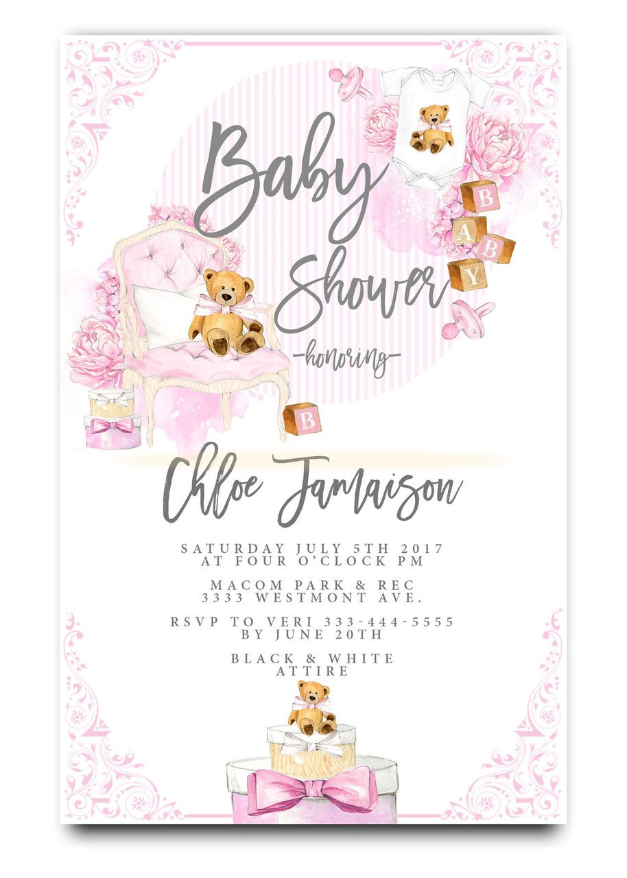914x1280 Baby Shower Invitation, Pink Teddy Bear, Gift Boxes