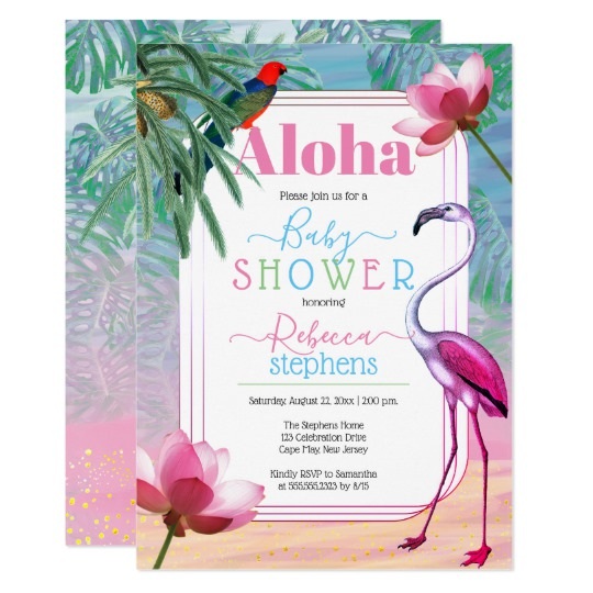 540x540 Boho Chic Tropical Beach Watercolor Baby Shower Invitation