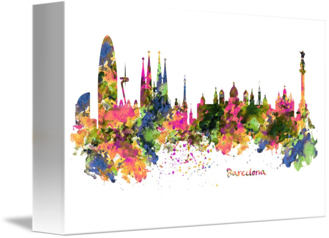 650x470 Barcelona Watercolor Skyline By Marian Voicu