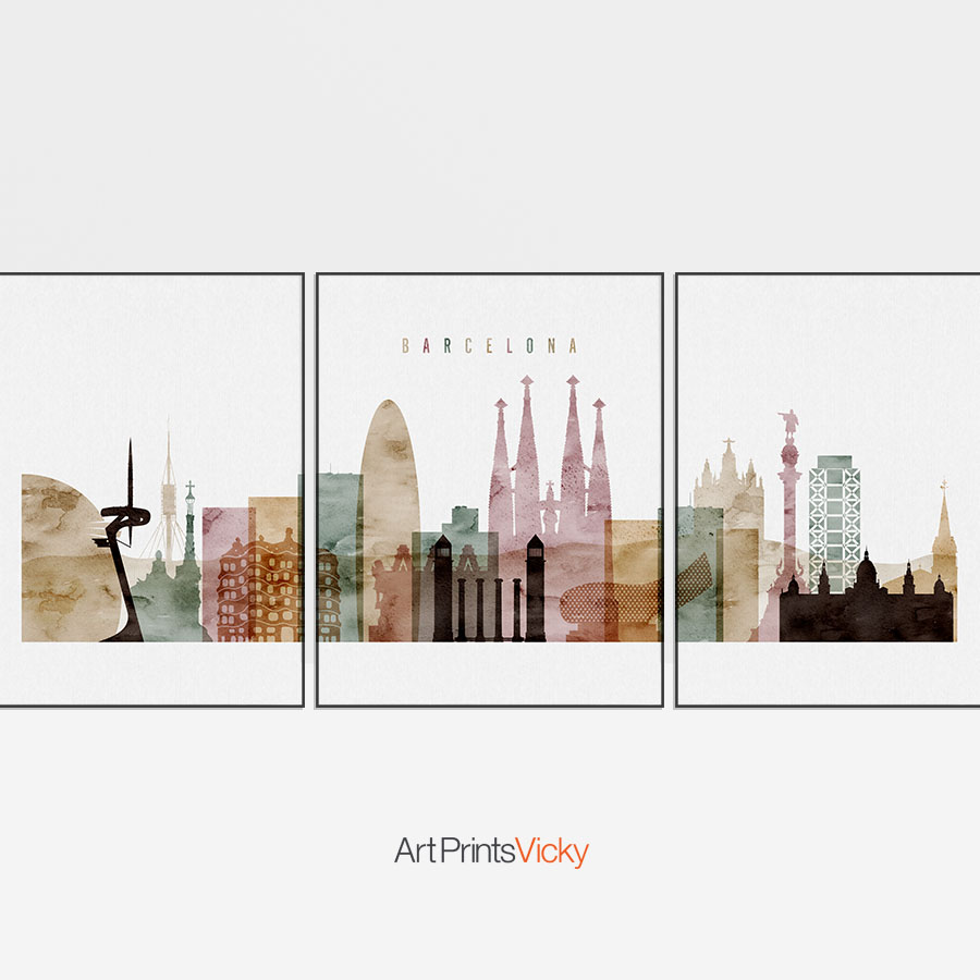 900x900 Barcelona Watercolor 1 Skyline Set Of 3 Prints Artprintsvicky